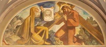 Free BARCELONA, SPAIN - MARCH 3, 2020: The Fresco Veronica Wipes The Face Of Jesus In The Church Santuario Nuestra Senora Del Sagrado Royalty Free Stock Photography - 183792287