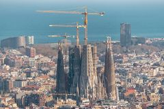 Barcelona, Spain -March 16, 2019: Aerial panoramic view of Barcelona city skyline and Sagrada familia in Spain.  stock photo