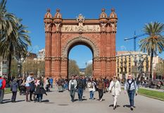 The Arc de Triomf. Barcelona, Spain. BARCELONA, SPAIN, March 2018: the Arc de Triomf at the end of a promenade leading to the Parc de la Ciutadella in Barcelona Royalty Free Stock Photo