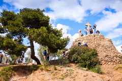 Calvary in Park Guell. Barcelona Stock Images