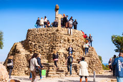 Calvary in Park Guell. Barcelona, Spain Royalty Free Stock Photos