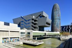 Disseny Hub Barcelona museum and Torre Glories Royalty Free Stock Images