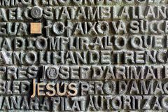 Barcelona, Spain - March 19, 2018: Jesus name written on the mai stock photo