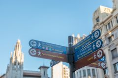 Landmarks sign with directions on the street in Barcelona city.  stock photography