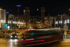 Espanya square with venetian columns in Barcelona, Catalonia, Spain. Street view at night. BARCELONA, SPAIN, March 2018: night view of Placa Espanya with Royalty Free Stock Photo