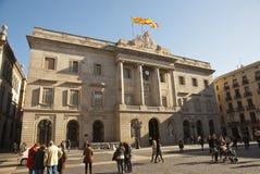 City hall of Barcelona, Catalonia, Spain. BARCELONA, SPAIN - MARCH 9: People infront of city hall of Barcelona, Catalonia, Spain on March 9, 2013 Stock Image