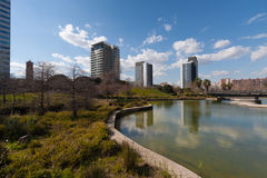 Barcelona,Spain, March 2016: river in parc Diagonal Mar with view on modern skycaps stock photos