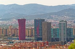 Scenic view on the skylines of Barcelona, Spain. Barcelona, Spain - March 29, 2015: Scenic view on the skylines of Barcelona. From the left to the right: Hotel Royalty Free Stock Photography