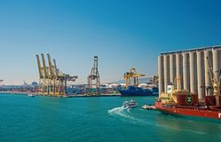 Barcelona, Spain - March 30, 2016: sea port on blue sky. Container port. Trade and commerce activity. Business shipment. And shipping. Wanderlust and travelling stock photo