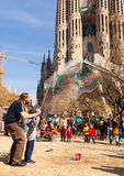 Street performer working before Sagrada Familia Royalty Free Stock Photography