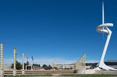Barcelona, Spain, March, 2016: Telecommunications tower in the Olimpic park of Montjuïc stock photography