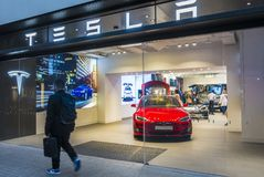Barcelona, Spain. March 2018: Tesla store near Passeig de Gracia street with model S inside. Stock Images