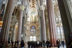 Interior of Sagrada Famila Church Royalty Free Stock Images