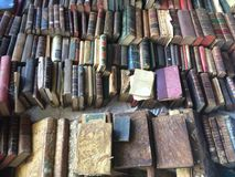 Barcelona, Spain, March 2016:trade of antique and old books merchandise on local flea market Royalty Free Stock Photography
