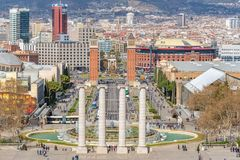 Barcelona, Spain -March 12, 2019: View of Plaza de Espana in Barcelona. Montjuic columns and fountain. Spain stock photography