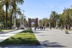 Boulevard Luis Companis and the Arc de Triomphe, Barcelona. BARCELONA, SPAIN - MAY 16, 2017: This is the Arc de Triomphe and Boulevard Luis Companis Stock Photos