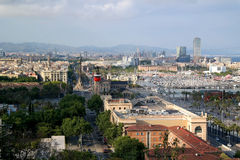 Barcelona, Spain - May 17, 2014: The cable car to the top of the hill of Montjuic. Stock Photos