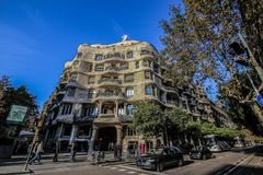 BARCELONA, SPAIN - MAY 22: Casa Milla, details of the facade of the house made by the architect Antonio Gaudi May 22, 2016 in. Barcelona, Spain stock images