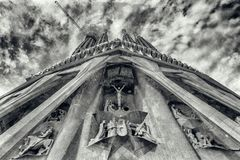 BARCELONA, SPAIN - MAY 14, 2018: Cathedral of La Sagrada Familia on a sunny spring day. It is designed by architect Antonio Gaudi. And is being build since 1882 stock photos