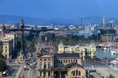 BARCELONA, SPAIN, may  : Cityscape view of Drassanes square Placa de les Drassanes in Barcelona, Spain Stock Photos