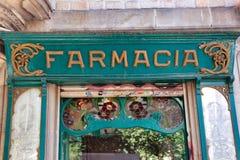 Exterior of old ChemistFarmacia shop in Barcelona