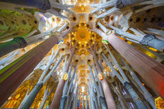 BARCELONA SPAIN - MAY 23, 2016 : `La Sagrada Familia`, the unrealistic cathedral designed by Gaudi Royalty Free Stock Photography