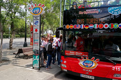 Barcelona, Spain - May 17, 2014: landing on the City Tour Bus Royalty Free Stock Photography