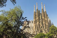 Nativity facade of La Sagrada Familia - the impressive cathedral royalty free stock images