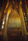 BARCELONA, SPAIN - 03 MAY 2016: Organ pipes in the Sagrada Famil Royalty Free Stock Photography
