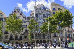 Quarter of Discord in Barcelona. BARCELONA, SPAIN - MAY 13, 2017: This is the Quarter of Discord in the Eixample district, where the best Catalan architects Stock Image