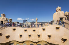Barcelona, Spain. May 6, 2017: Roof of Casa Mila, also known as La Pedrera, by Catalan architect Antoni Gaudi. Royalty Free Stock Image