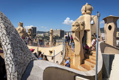 Barcelona, Spain. May 6, 2017: Roof of Casa Mila, also known as La Pedrera, by Catalan architect Antoni Gaudi. Stock Photography