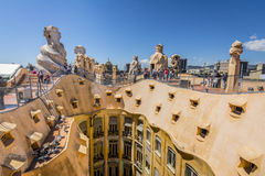 Barcelona, Spain. May 6, 2017: Roof of Casa Mila La Pedrera by Catalan architect Antoni Gaudi. Royalty Free Stock Images