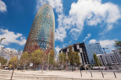 BARCELONA, SPAIN - MAY 7 : Torre Agbar on May 7, 2016 in Barcelona, Spain. 38 storey tower, built in 2005 by famous architecht Jea Royalty Free Stock Images