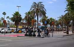 Barcelona, Spain - May 17, 2014: Tourists sightseeing on Segway tour of Barcelona Stock Images