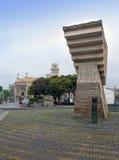 barcelona spain Monument till Francesc Macia i Placa de Catalunya Royaltyfria Bilder