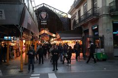 BARCELONA, SPAIN - november 5, 2017: Boqueria Market - City Mark stock photos