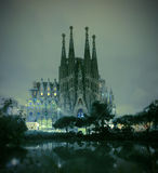 BARCELONA, SPAIN - NOVEMBER 22, 2014: La Sagrada Familia cathedral at night. La Sagrada Familia - cathedral designed by Antonio Gaudi, Night view from oldest royalty free stock photography
