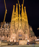 BARCELONA, SPAIN - NOVEMBER 09: Night view of Sagrada Familia ch Stock Images