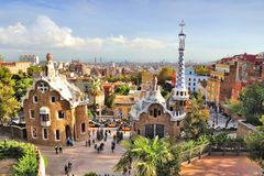 Barcelona - Parc Guell. BARCELONA, SPAIN - NOVEMBER 6, 2012: People visit Park Guell in Barcelona, Spain. It was built in 1900-14 and  is part of the UNESCO Royalty Free Stock Photography