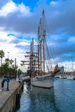 The Schooner, the Pailebot Santa Eulàlia, a three-masted vessel built 1918, docked at the Moll de la Fusta quay, Barcelona, Spain stock images