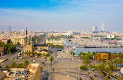 BARCELONA, SPAIN - OCTOBER 21, 2014: Barcelona and Mediterranean Sea in sunny day. Catalonia, Spain Stock Images
