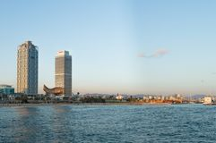 Barcelona, Spain, October, 2016: Beach panorama from the Mediterranean sea stock images