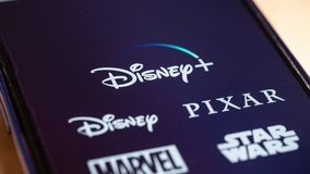 Barcelona, Spain. October 2019: Close up view of Disney plus on smartphone screen.