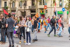 BARCELONA, SPAIN - OCTOBER 3, 2017: Demonstrators during protests on the street in Barcelona. Copy space for text. Stock Photos
