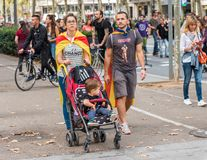 BARCELONA, SPAIN - OCTOBER 3, 2017: Family at the demonstration in Barcelona. Copy space for text. Stock Images