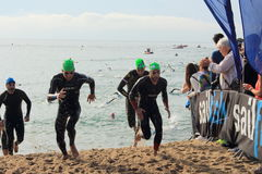 Barcelona, Spain - October, 5, 2014: Leading triathletes get out of the water in the relay race during Barcelona Garmin Triathlon. Event, Barcelona, Catalonia stock images