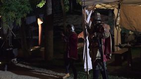 Barcelona, Spain – October 23, 2015: Medieval Fair, recreation of a camp of the fifteenth century stock footage