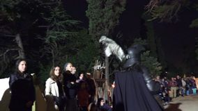 Barcelona, Spain – October 23, 2015: Medieval Fair, recreation of a camp of the fifteenth century stock video footage