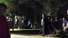 Barcelona, Spain – October 23, 2015: Medieval Fair, recreation of a camp of the fifteenth century stock video
